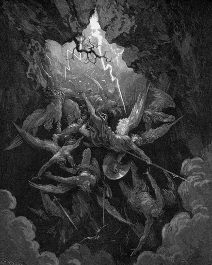 satan and his army of rebel angels get cast out of heaven. these two engravings inspired the shot in LOTR where gandalf and the balrog fall into the underground lake
